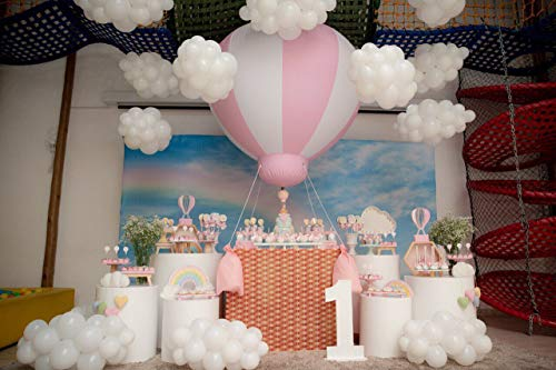 SAYOK 5ft PVC Half Hot Air Balloon Inflatable Baby Shower Party Balloon, Inflatable Hanging Balloon for Girls Baby Shower Decoration/Nursery/Kids Birthday/Event/Wedding/Show/Exhibitions
