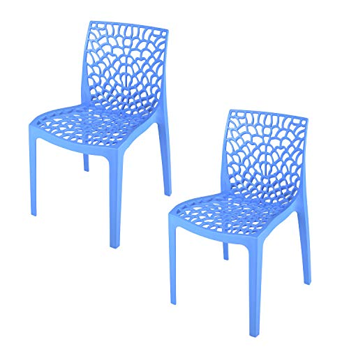 Supreme Web Designer Plastic Chair for Home and Office (Set of 2, Soft Blue)