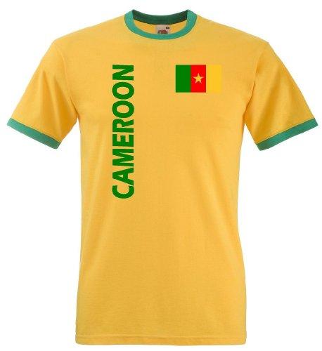 Fruit of the Loom Kamerun Herren T-Shirt Cameroon Retro Trikot von S-XXL|XL