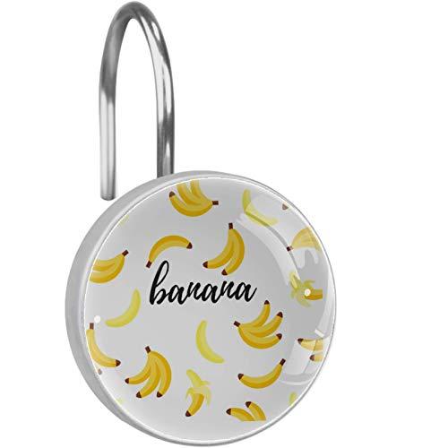 ZDL Bonito gancho de ducha para bananaDucha, cada juego de 12 ganchos de ducha de acero inoxidable, anillo de decoración de baño, sala de estar, dormitorio, decoración del hogar