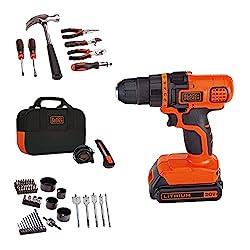 top 10 power tool set SCHWARZ + DECKER 20V MAX drill and household tool set, 68 pieces (LDX120PK), black / orange