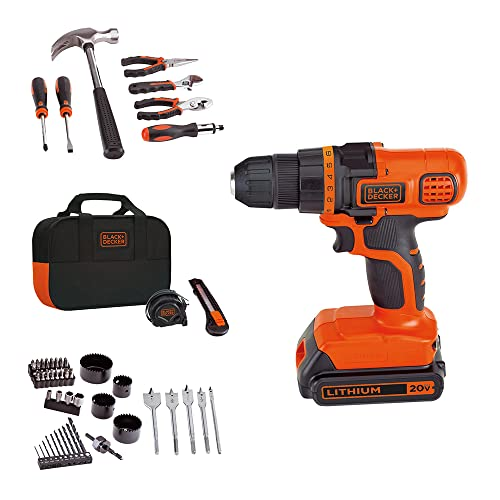 BLACK+DECKER 20V MAX Drill & Home Tool Kit