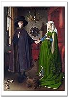 世界の名画 ヤン・ファン・エイク アルノルフィーニ夫妻像 ジークレー技法高級ポスター (A2/420ミリ×594ミリ)