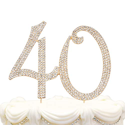 Hatcher lee Bling Crystal 40 Birthday Cake Topper - Best Keepsake | 40th Party Decorations Gold