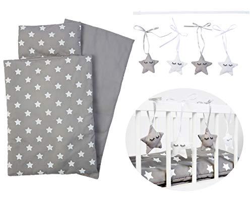SUN 3-teiliges Puppenbettzeug Sternchen mit Sternenkette (Grau-Weiß)