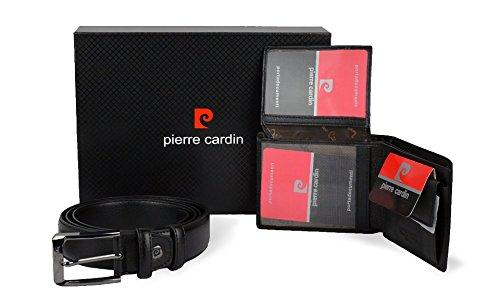 Pierre Cardin 8866 Coffret cadeau ceinture et portefeuille en cuir véritable -