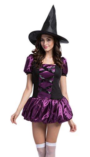 Bigood Femme Déguisement Cosplay Sorcière Costume de Citrouille Horreur pour Halloween