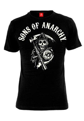 Hijos de la anarquía camiseta para hombre del segador Logotipo de negro de algodón serie - S
