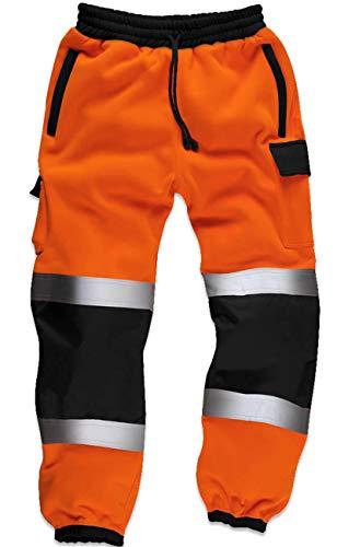 Qaswa Hi Viz Herren Arbeitshose mit reflektierenden fluoreszierenden Jogginghosen Sicherheit Fleece Arbeitnehmer, Orange, XXL