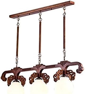 ANDEa Lámpara retro china, lámpara de araña de madera del estudio del dormitorio del restaurante
