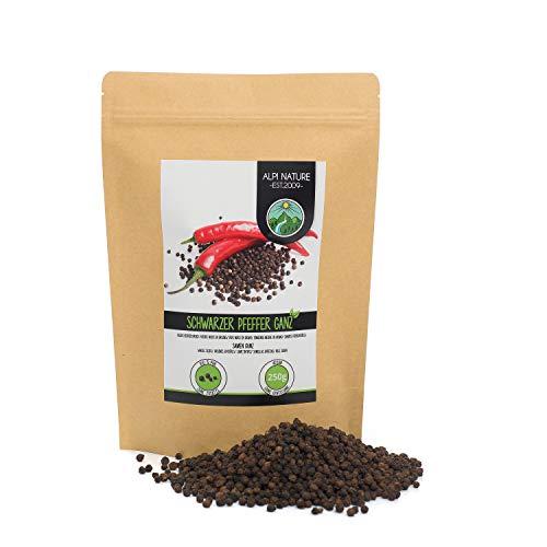 Pimienta negra granos (250g), granos de pimienta negra 100% naturalmente pura, Pimienta negra entera especia natural sin aditivos, vegana