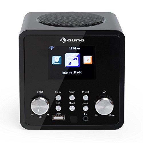 Auna IR-120 - Radio de Internet, Reproductor MP3, WMA, Acc, Internet Wi-Fi, Conexión USB y AUX, Alarma, Autoapagado, 15000 emisoras, Mando a Distancia, Negro