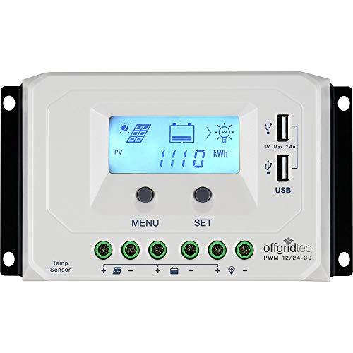 Offgridtec® PWM Pro Laderegler 12V/24V 30A USB