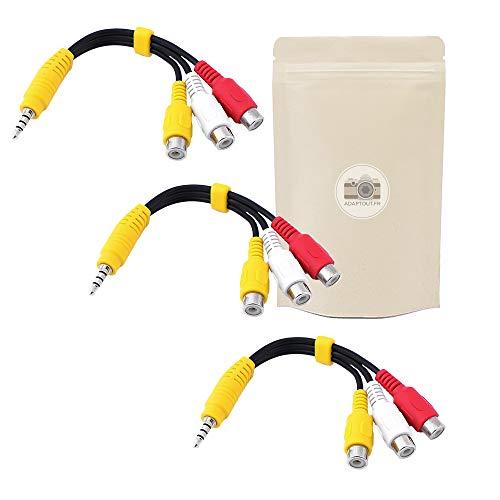 3x Adaptador Mini Jack 3.5mm Hembra a 2 RCA Macho Coaxial Cable Audio 40 cm
