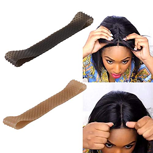 2 Pack Wig Grip Band Non Slip Transparent Silicone Wig Fix Silicone Wig Grip Natural Grip Headbands for Women Comfort Elastic Wig Grip Cap for Lace Wigs to Hold Wigs(light brown+black)