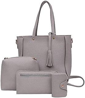 Viyado 4 Set Women Messenger Leather Handbag Zipped Purse Shoulder Bag