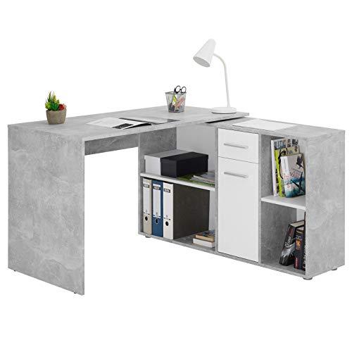 CARO-Möbel Eckschreibtisch Diego mit Regal, moderner Bürotisch für das Homeoffice, Computertisch in Trendiger Betonoptik