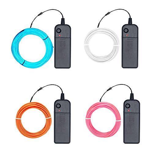 EL Wire, 4er-pack El Kabel - Leuchtkabel Neon Wire Leuchtende Strobing Elektrolumineszenz-El-Draht (Eisblau, Pink, weiß, Orange) mit 3 Modi Batterie-Controller