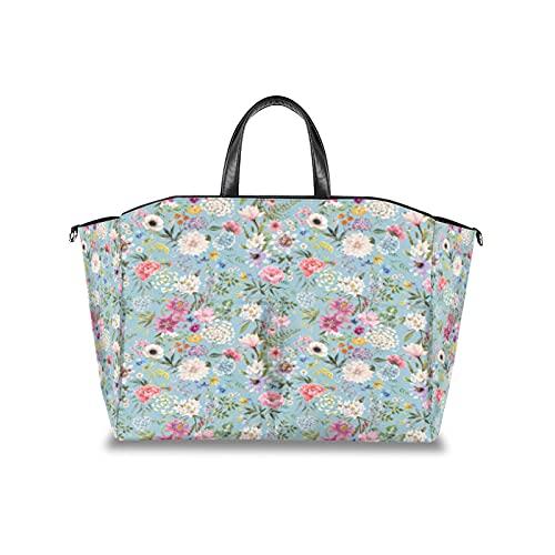 Wickeltasche, handgezeichnete Sommer-Blume, multifunktionaler Kinderwagen-Organizer, wasserdicht, Wickeltasche, Reisetasche mit verstellbarem Klettverschluss