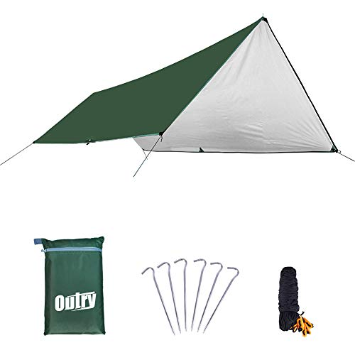 Outry Multifunctional waterproof Fly Tent Tarp, Anti-UV Lightweight Camping Shelter Outdoor Footprint Rainfly Hammock Fly - Tent Stakes and Ropes Included (Green, S - 9.8ft x 13.1ft /3m x 4m)