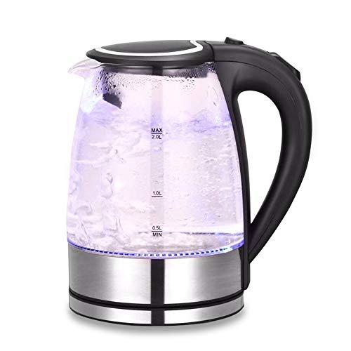 AVEDISTANTE Hervidor de Cristal Teteras Eléctricas 2L, Hervidores Eléctrico de Vidrio con iluminación Led, 2200W, Libre de BPA