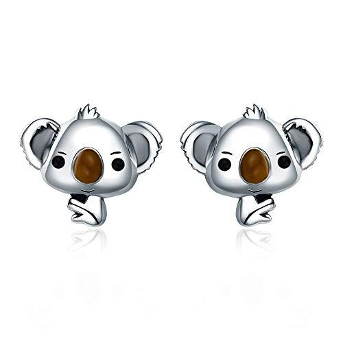 GDDX 925 Sterling Silver Retro Cute Fashion Fox Cat Lizard Butterfly Koala Animal Stud Earrings Jewelry For Women (koala earrings)