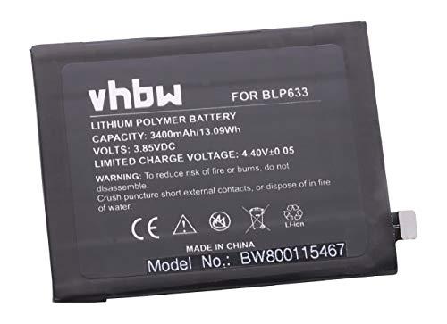 vhbw Li-Polymer Akku 3400mAh (3.85V) passend für Handy Smartphone Telefon OnePlus 3T, 3T Dual SIM, A3010, Rain