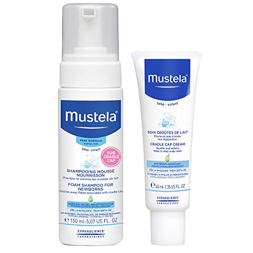 Mustela Baby Cradle Cap Bundle - Natural Baby Shampoo & Cradle Cap Cream - with Natural Avocado - 2 Items Set