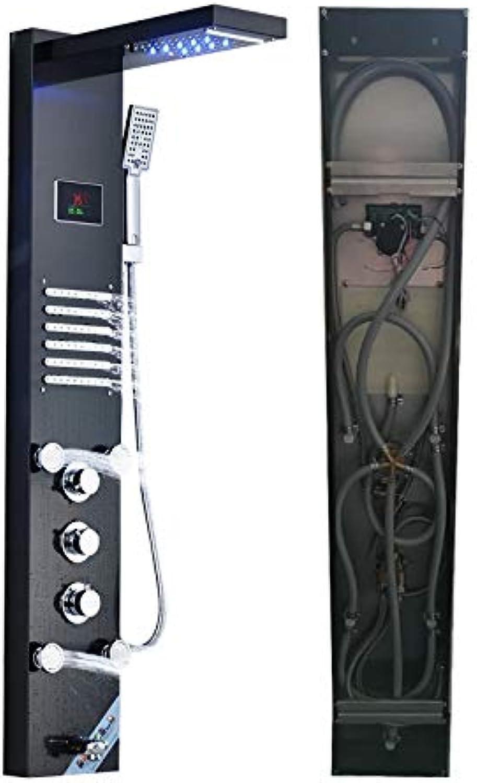 Shower Column LED Wasserfall Regen Duschpaneel Bad Dusche Wasserhahn Massage Jets Badewanne Duschsule Mischbatterie para Bar Bad,A