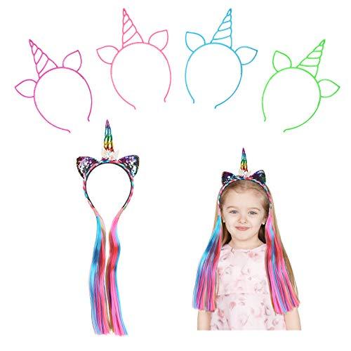 JOOPOM 5 Pezzi Cerchietto Unicorno Con Capelli Unicorno Fascia Bambina Carnevale Corno Hairband Unicorno AVEC Capelli Colorati Corna Cerchietto Accessori Unicorno per Costumi Cosplay Bomboniere