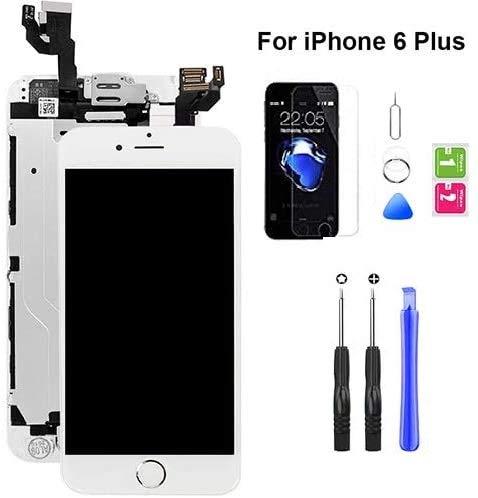 Hoonyer Für iPhone 6 Plus Display ersatzbildschirm LCD Touchscreen Display vorinstallierte frontkamera näherungssensor Reparatur kit komplette ersatzbildschirm mit Werkzeug (Weiß)