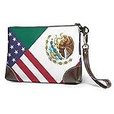 bolso de mano de cuero para mujer Estados Unidos Bandera de México Monederos de cuero Carteras de mano Carteras para teléfono Estuche de maquillaje Neceser de baño Estuche de cosméticos para viajes