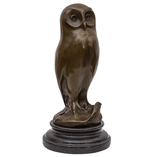 aubaho Bronzeskulptur Eule Uhu Vogel Bronze Bronzefigur Figur Skulptur 27cm