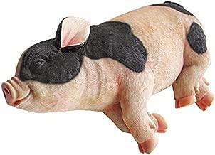 Design Toscano Sleeping Pig Garden Farm Animal Statue, 12 Inch, Polyresin, Full Color