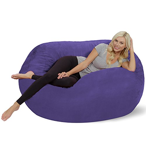 Chill Sack Bean Bag Chair: Huge 5' Memory Foam Furniture Bag and Large Lounger - Big Sofa with Soft Micro Fiber Cover - Purple