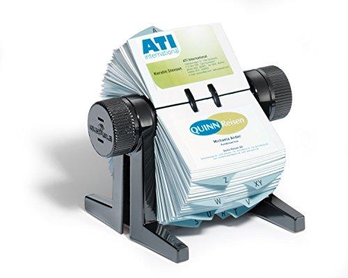 Durable 244701 Rotationskartei Visifix cubo, mit 150 Visitenkartenhüllen für 300 Karten, schwarz