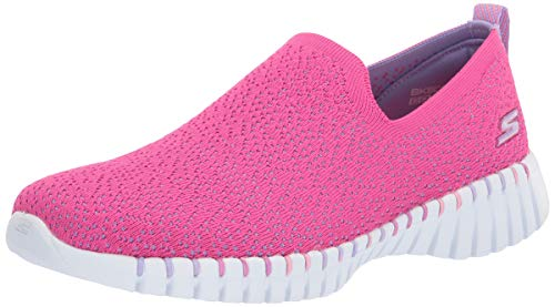 Skechers Kids Girls' GO Walk Smart Sneaker, Hot Pink/Lavendar, 5 Medium US Big Kid