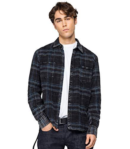 REPLAY M4032r.000.52308 Camisa, 10 Negro/Azul Oscuro, L para Hombre