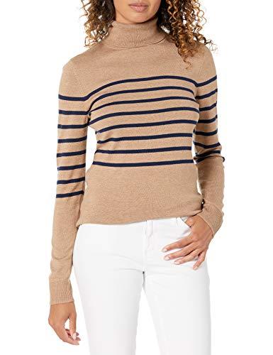 Amazon Essentials Leichter Rollkragenpullover pullover-sweaters, Camel Heather / Navy Placed Stripe, XL