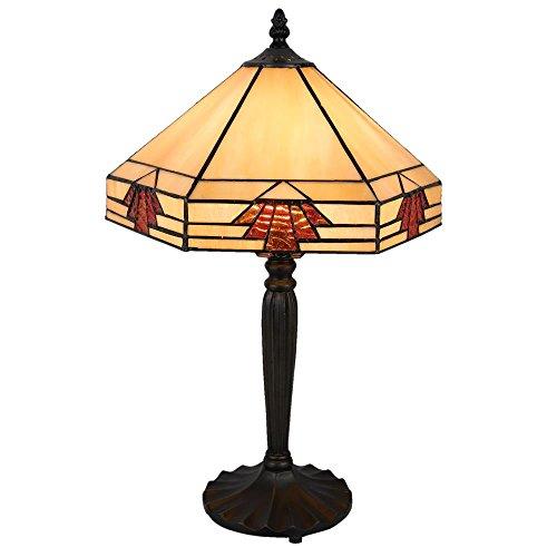 Lumilamp 5LL-5203 Art Deco Tiffany - Lámpara de Mesa (31 x 27 x 47 cm, E27, máx. 1 x 60 W Decorativo Cristal de Colores Tiffany Estilo Hecha a Mano Pantalla de Cristal