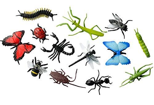 Miniblings 12x Insekten Figuren Aufstellfiguren Tierfiguren Gummitiere Tier Set