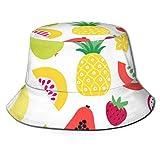 Nonebrand Tutti Frutti Colorido Frutti Tropical Frutti Gran Unisex Pescador Cubo Sombrero Solar Protección UV Verano Reversible Cubos Tapas para Acampar Pesca Safari Boonie Cap