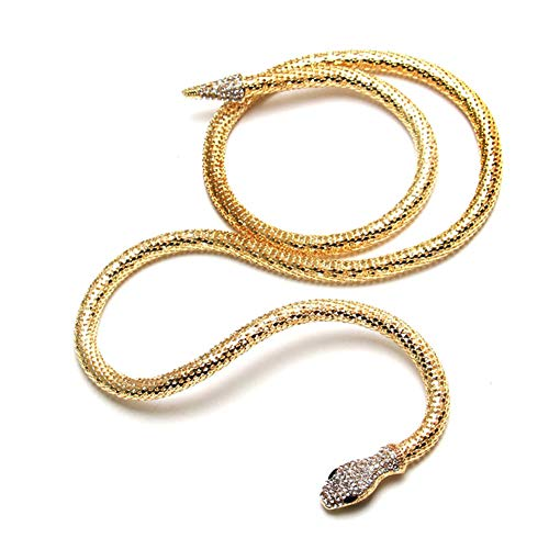 Tvoip Fashion Collier Femme Jewelry Full Rhinestone Accessories gold silver Crystal Snake long Pendant Necklace. (Gold)