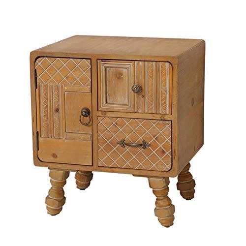 Comodini Comodino in legno massello vintage con cassetti soggiorno camera da letto divano armadietto armadio in metallo maniglia decorativa comodino decorativo Tavolino da Caffè ( Color : Natural )