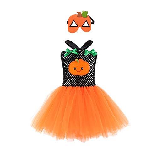 Disfraz De Bruja De Calabaza Doble De Halloween Sin Mangas para NiñOs Disfraz De Rendimiento Uniforme De Tutú+Conjunto De MáScara Juego De rol De Fiesta Conjunto De 2 Piezas(Naranja,12-24 Meses/S)