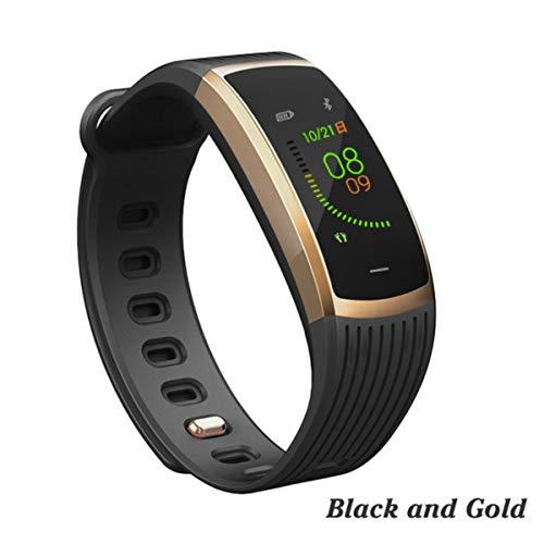 FXMINLHY Smart Armband met hartslagmeter, smart fitness-armband, waterdicht, IP67, fitnesstracker, horloge voor dames en heren, zwart en goud, stappenteller