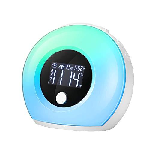 EXTSUD Sveglia Digitale Wake Up Light Ricaricabile Dimmerabile da Comodino con 5 Colori Luce Notturna 4 Luminosità Snooze Altoparlante Bluetooth Lampada Sveglia per Stanza Bambini Adulti