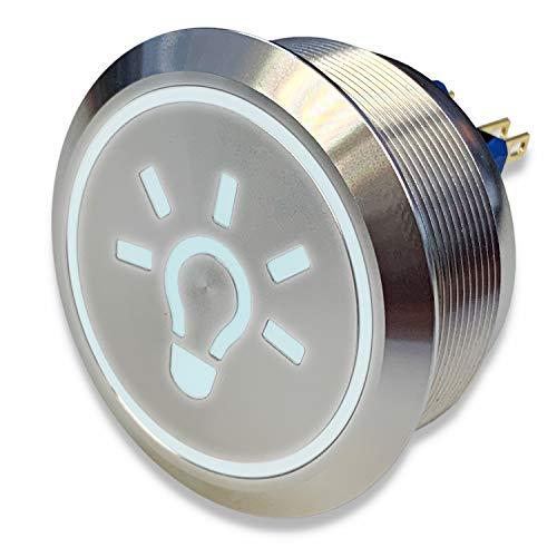 Edelstahl Drucktaster Ø40mm, 2-polig, 10 Pin, Symbol Licht LED Ring (Weiß)