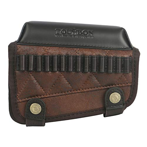 TOURBON PU Leather Buttstock Cheek Rest with .22LR Long Rifle Ammo Holder - Right Handed