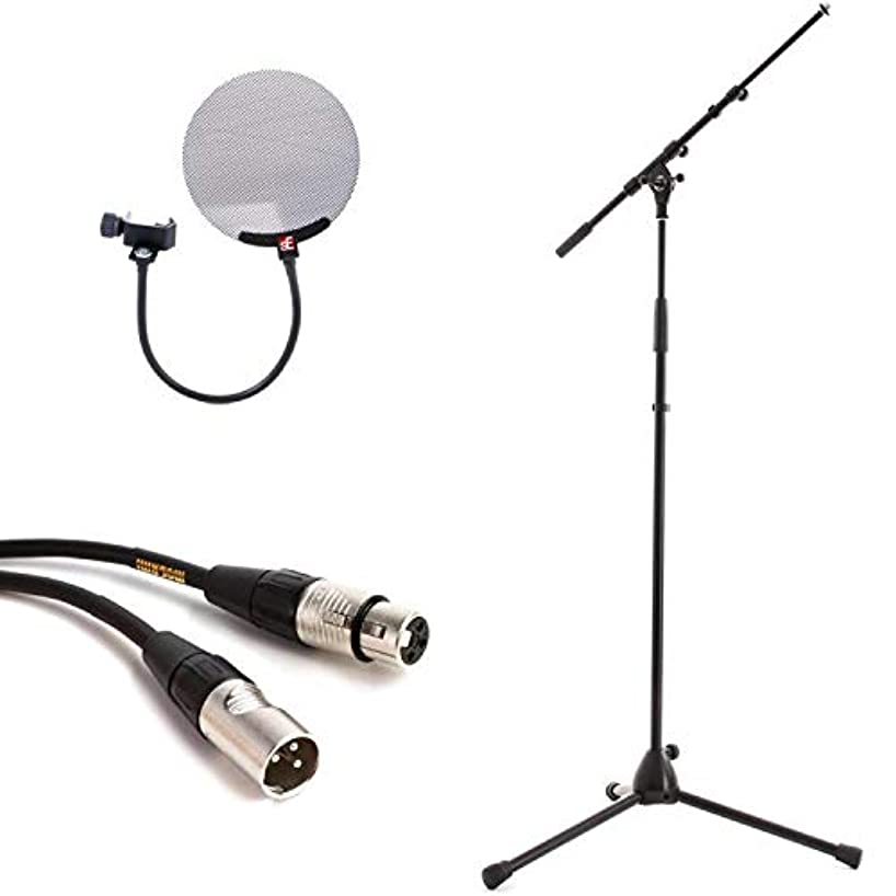 K&M 210/9 Microphone Stand with Pop Filter and Cable